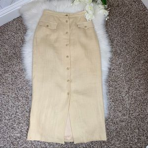 Tendance   Vintage Cream Linen Maxi Skirt Size 6